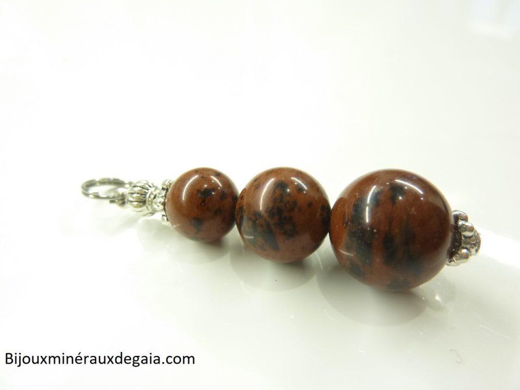 Pendentif obsidienne Acajou perles 12-10-8 mm