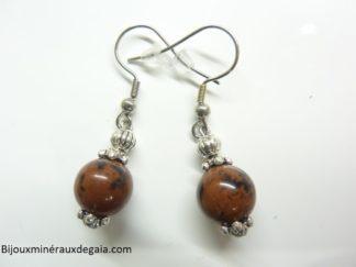 Boucles d'oreilles obsidienne Acajou - perles rondes 10 mm