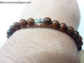 Bracelet obsidienne Acajou - perles rondes 6 mm