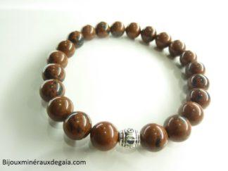 Bracelet obsidienne Acajou - perles rondes 8 mm