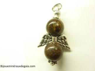 Pendentif Bronzite ange - perles rondes 10 mm