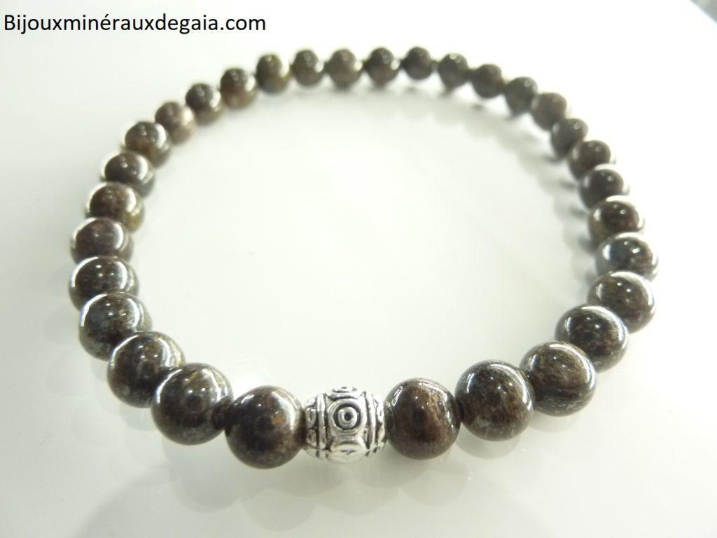 Bracelet Bronzite - perles rondes 6 mm