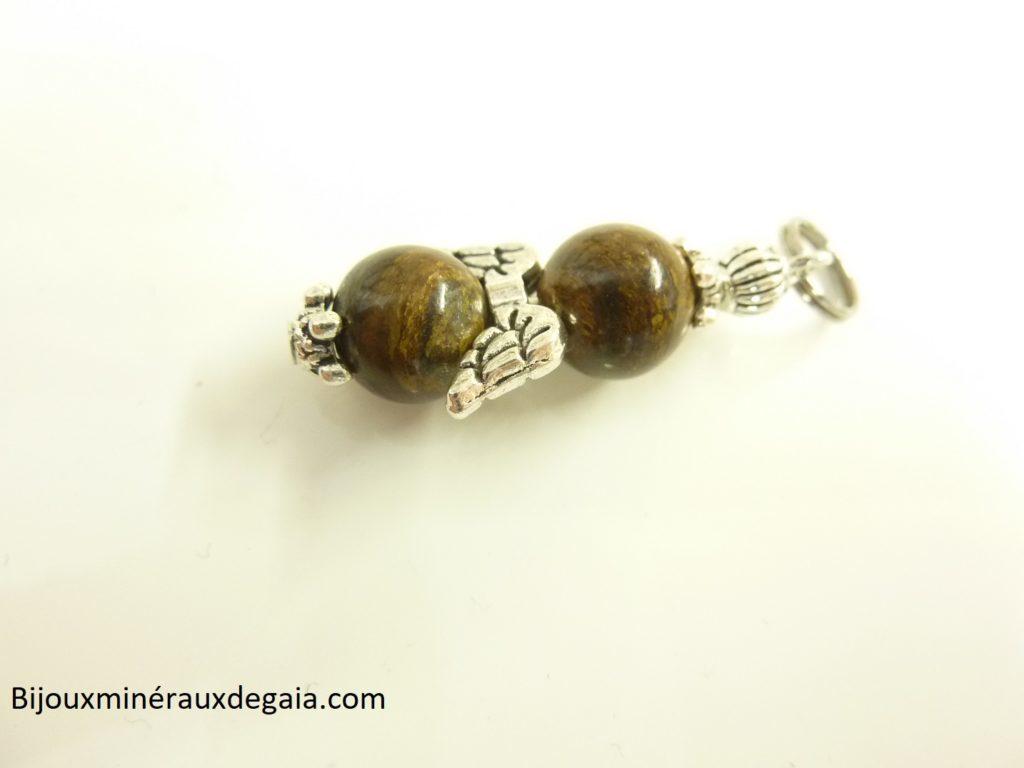 Pendentif Bronzite ange - perles rondes 8 mm
