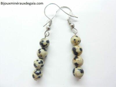 Boucles d'oreilles Jaspe Dalmatien - Perles rondes 6 mm