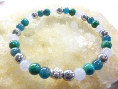 Bracelet Apatite-Hématite-chrysocolle-calcédoine bleue