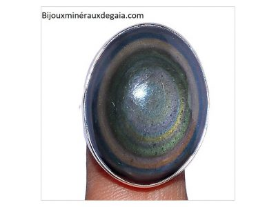 Bague obsidienne oeil celeste argent 925 taille 58 3/4 ref 2900