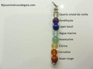 Pendentif 7 CHAKRAS - perles rondes 6 mm