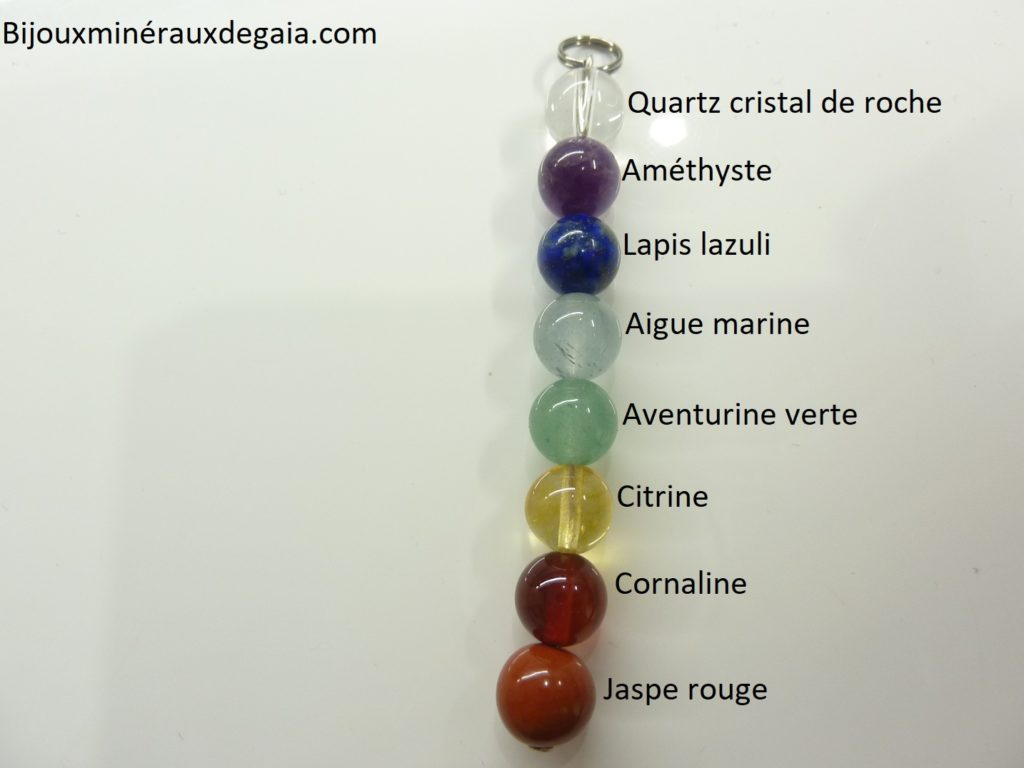 Pendentif 7 CHAKRAS - perles rondes 8 mm