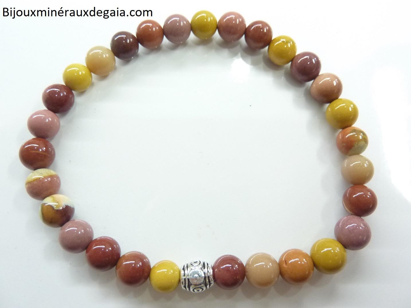 Bracelet Jaspe Mokaite - Perles rondes 6 mm
