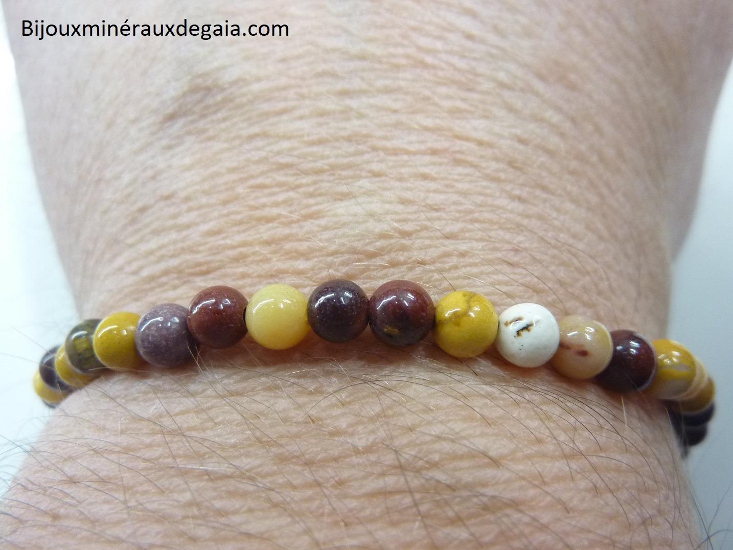 Bracelet Jaspe Mokaite - Perles rondes 4 mm