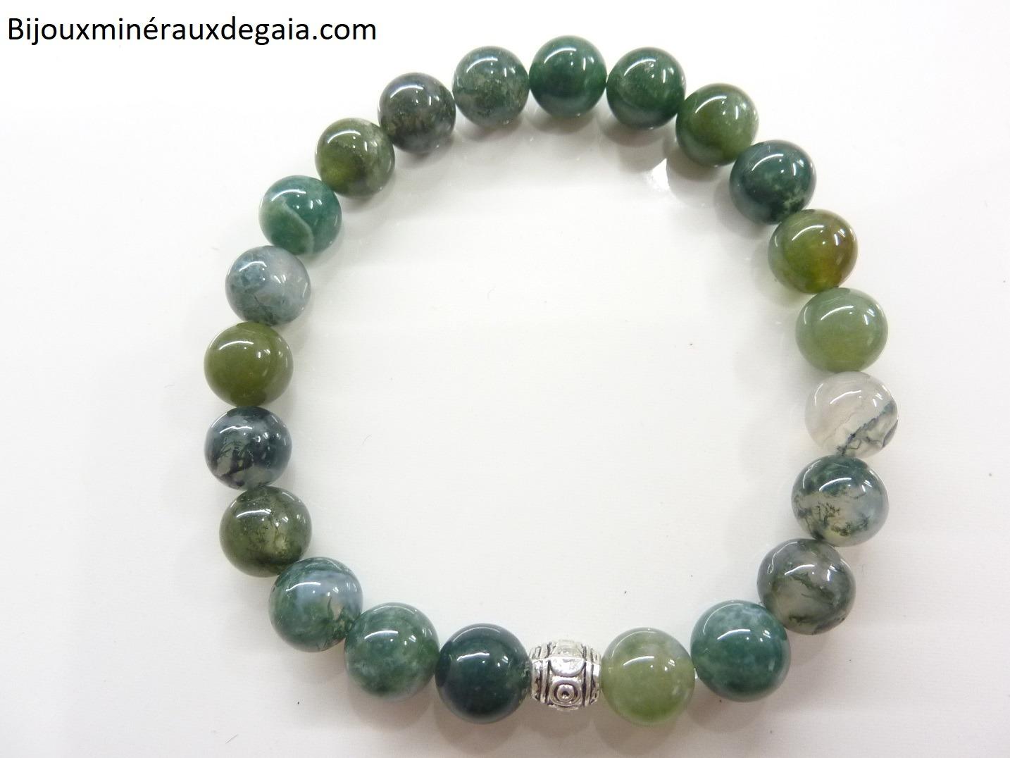 Bracelet agate mousse - Perles rondes 8 mm