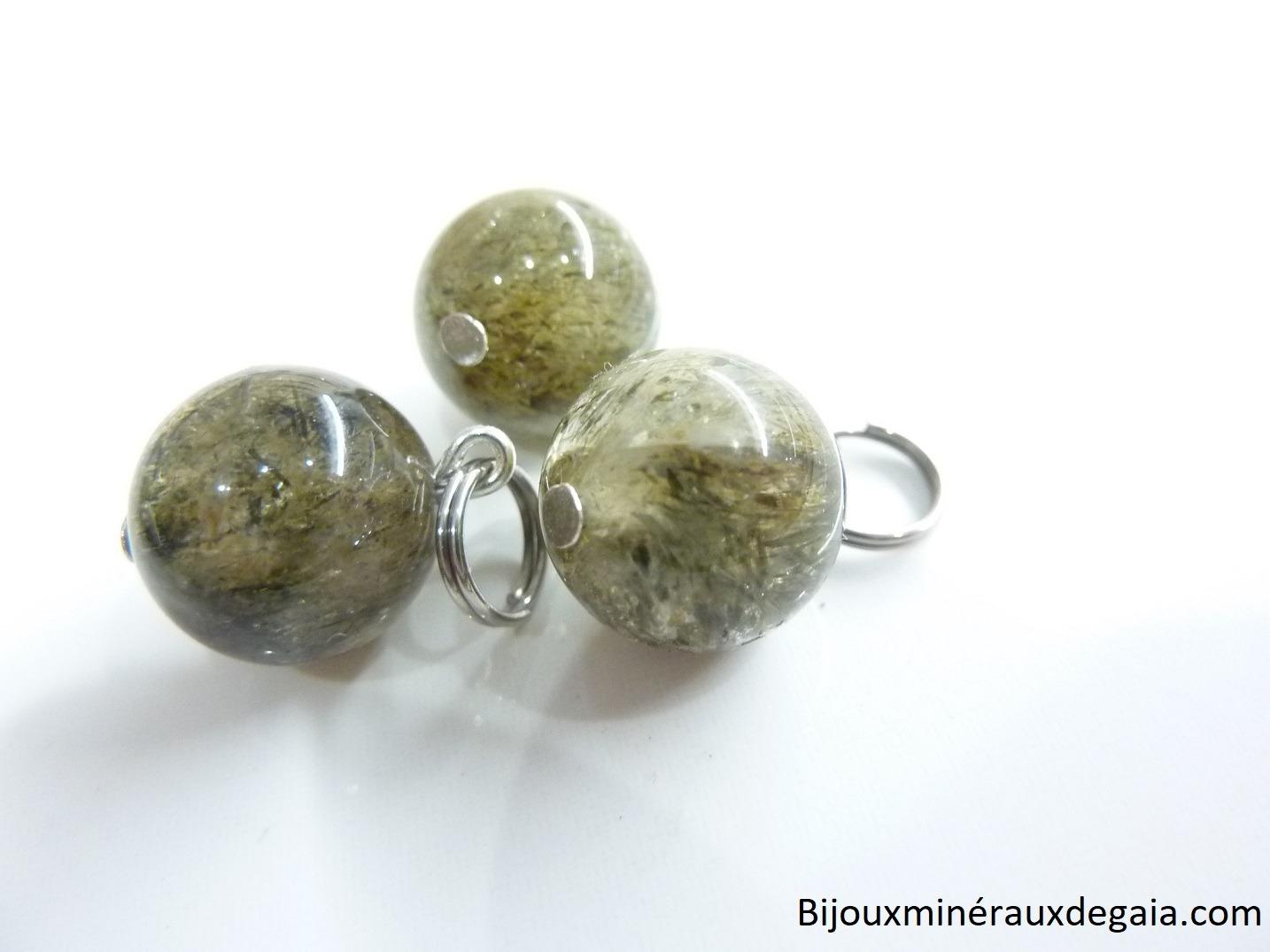 Pendentif quartz tourmaliné verte rare ! Perles rondes 12 mm