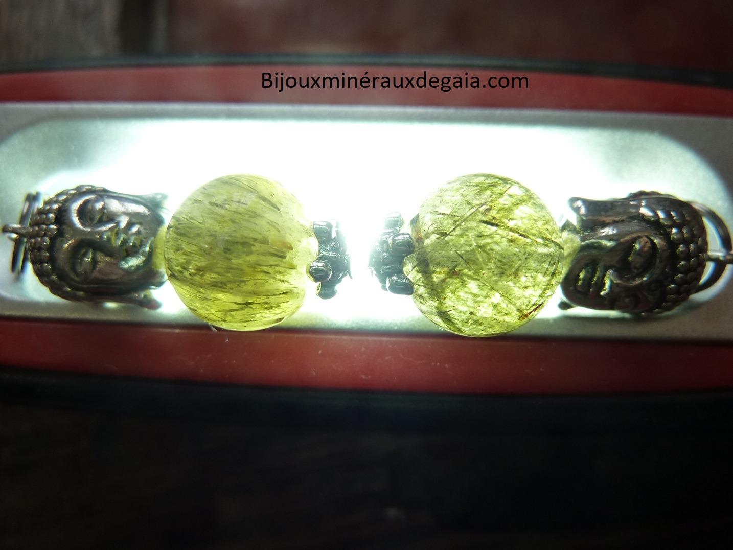 Pendentif quartz tourmaliné verte - Bouddha rare ! Perles rondes 10,5 mm