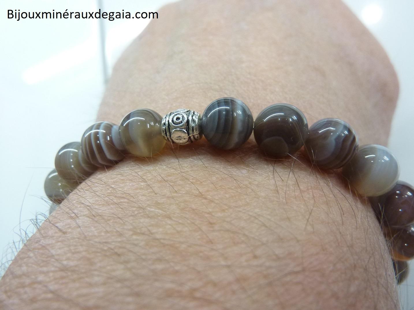 Bracelet agate botswana – Perles rondes 8 mm