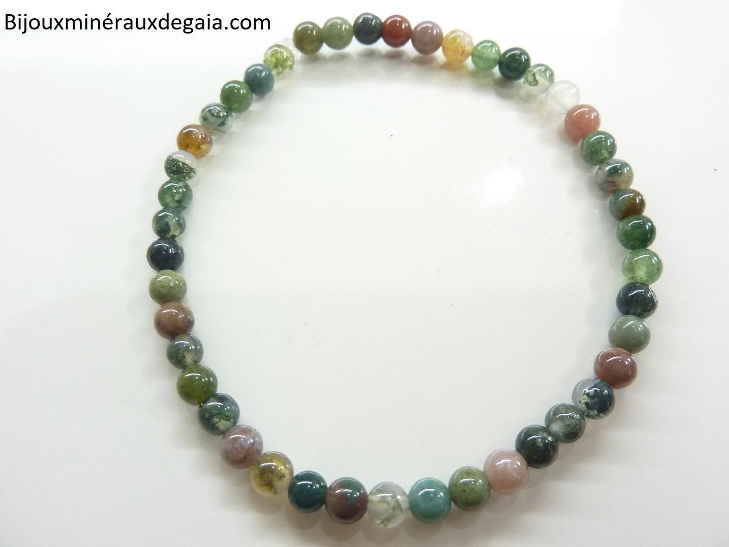Bracelet agate Indienne – Perles rondes 4 mm