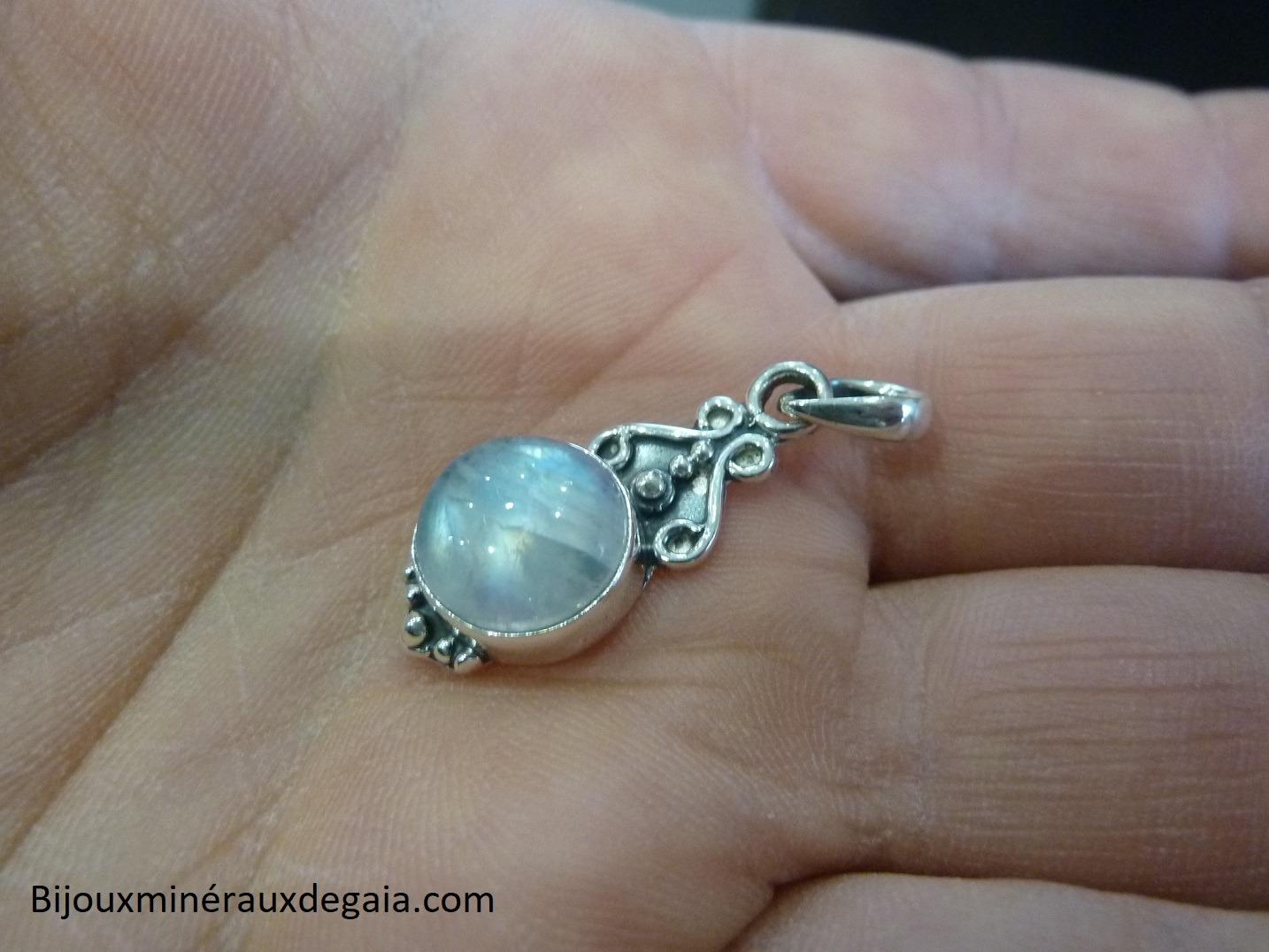 Pendentif Pierre de lune Monture argent 925 Ref 5840