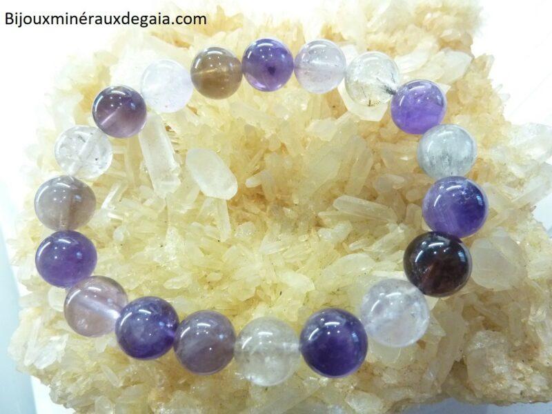 Bracelet Cacoxénite super seven très rare perles rondes 10 mm Ref 7951