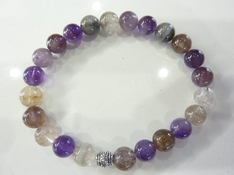 Bracelet Cacoxénite super seven très rare perles rondes 8 mm Ref 6325