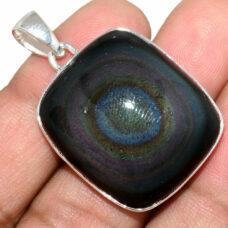 Pendentif Obsidienne oeil céleste monture argent 925 ref 8384