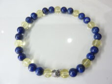 Bracelet Lapis lazuli-Citrine perles rondes 6 mm