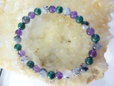 Bracelet malachite-améthyste-quartz tourmaliné