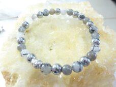 Bracelet Hématite-labradorite-quartz tourmaliné