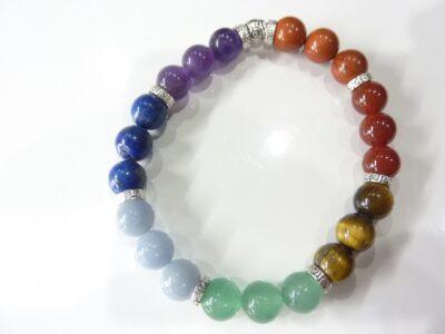 Bracelet 7 CHAKRAS Oeil de tigre-améthyste-aventurine-cornaline