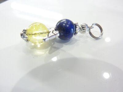 Pendentif Lapis lazuli-Citrine perles rondes 8 mm