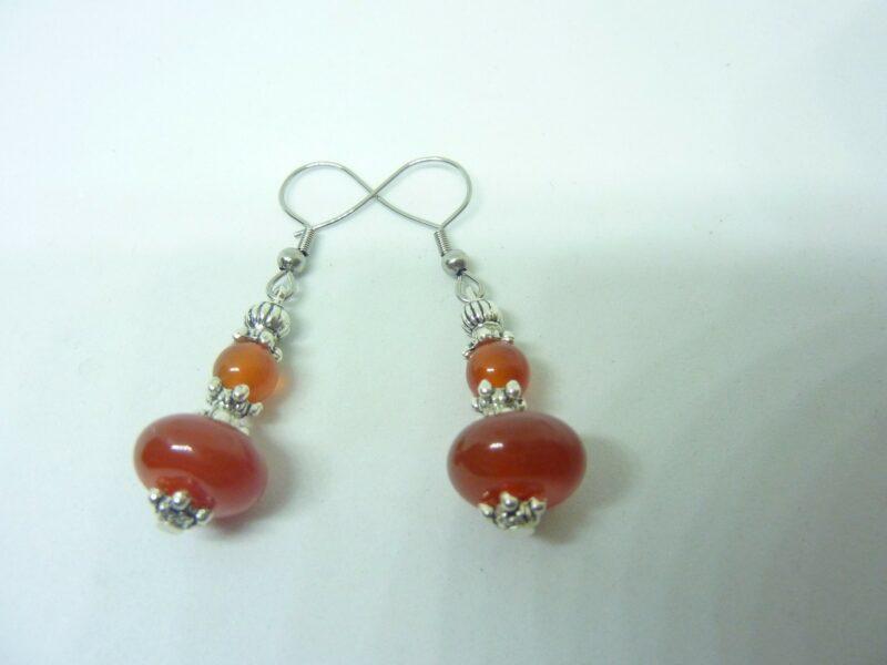 Boucles d'oreilles Cornaline - perles 12-6 mm