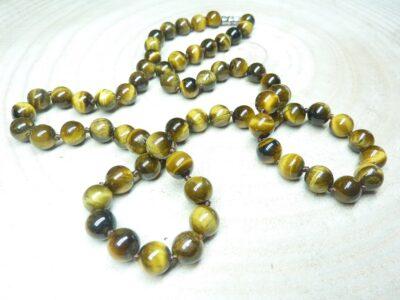 Collier Oeil de tigre - perles rondes 8 mm L 64 cm