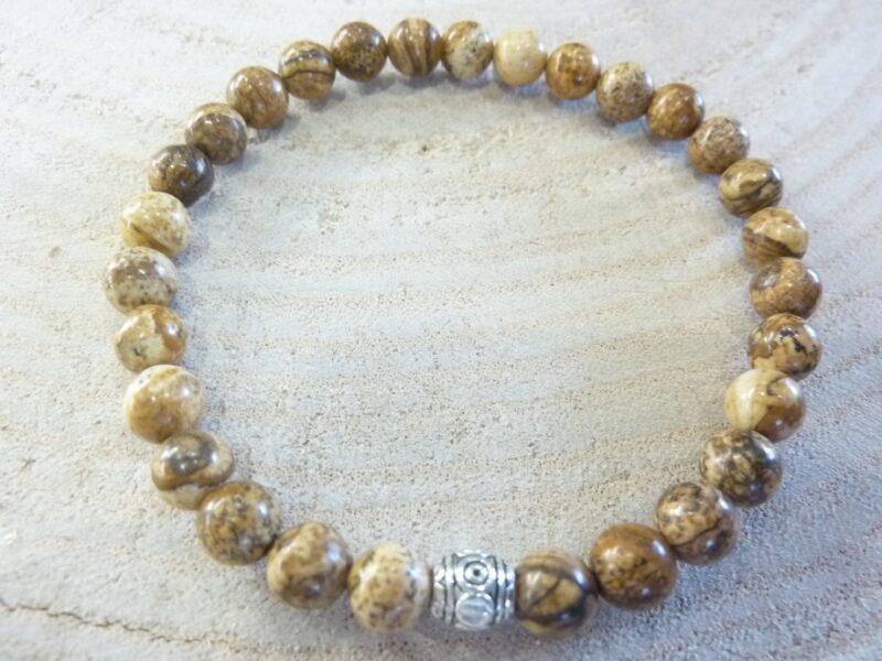 Bracelet Jaspe paysage - Perles rondes 6 mm