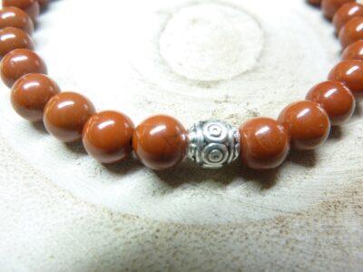 Bracelet Jaspe rouge - Perles 6 mm