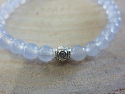 Bracelet Calcedoine Bleue - Perles rondes 6 mm