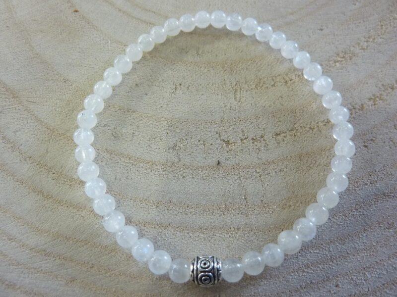 Bracelet Pierre de lune - Perles rondes 4 mm