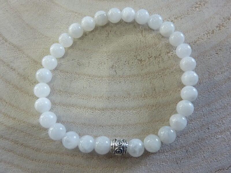 Bracelet Pierre de lune - Perles rondes 6 mm