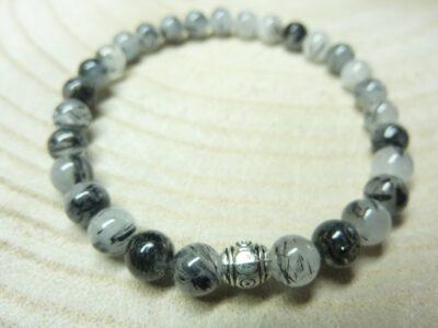 Bracelet Quartz tourmaliné - perles rondes 6 mm