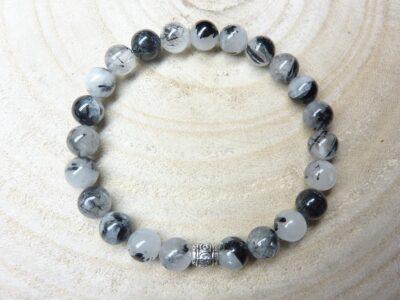 Bracelet Quartz tourmaliné - perles rondes 8 mm