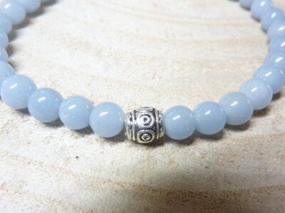 Bracelet Angélite - Perles rondes 6 mm