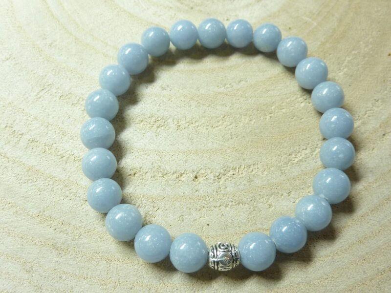 Bracelet Angélite - Perles rondes 8 mm