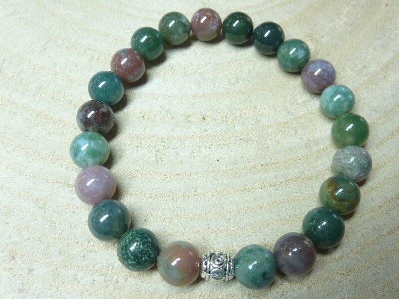 Bracelet agate Indienne – Perles rondes 8 mm