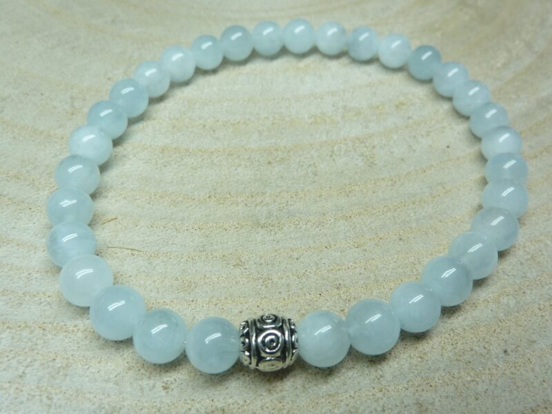 Bracelet Aigue marine - Perles 6 mm