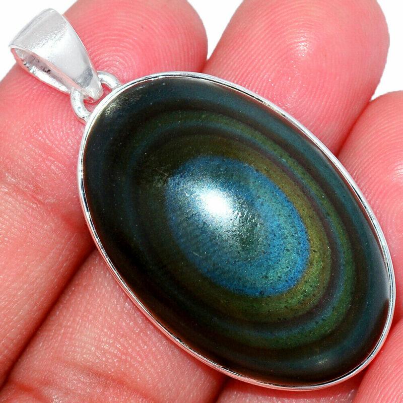 Pendentif Obsidienne oeil celeste monture argent 925 ref 2063