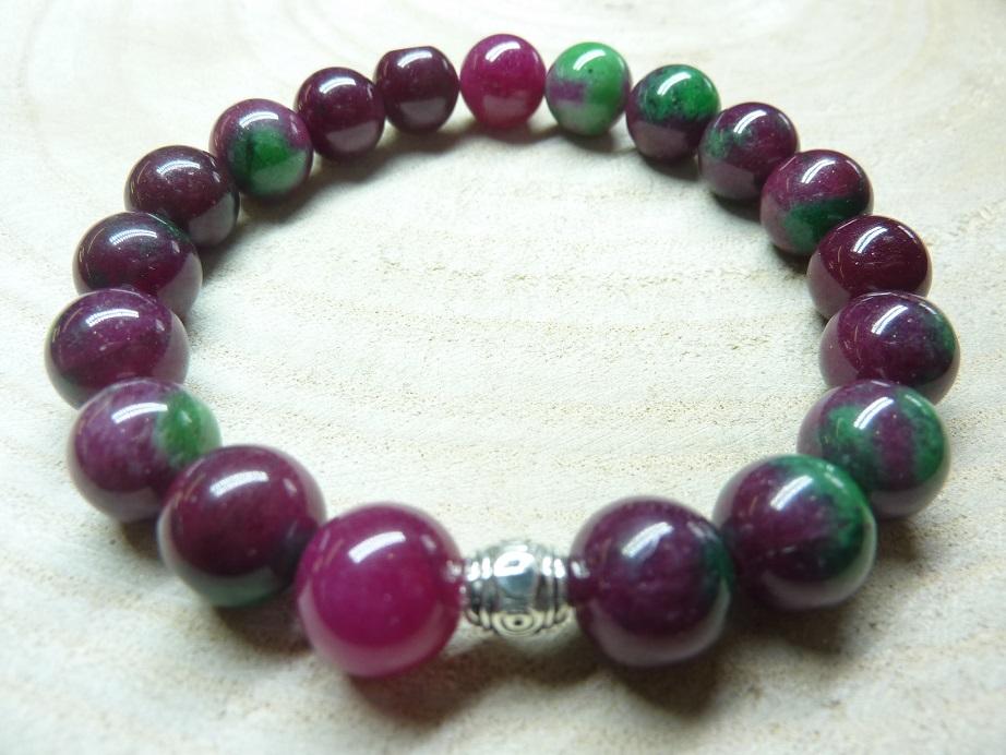 Bracelet Rubis Zoisite - Perles rondes 10 mm