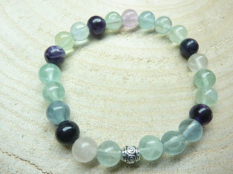 Bracelet Fluorite - Perles rondes 8 mm