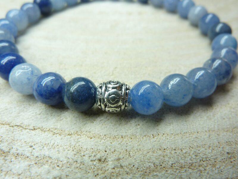Bracelet Aventurine bleue - Perles rondes 6 mm