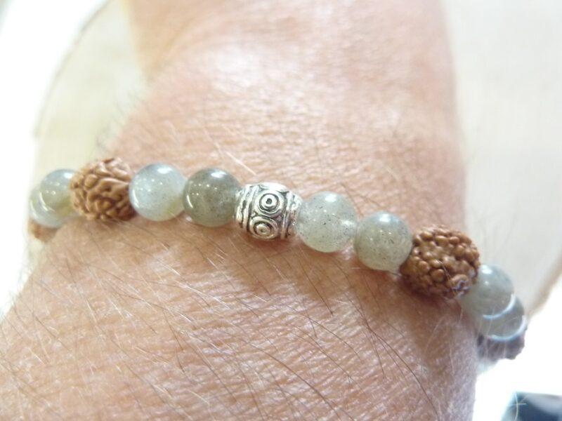 Bracelet Rudraksha-Labradorite - Perles 8-6 mm