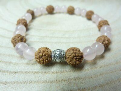 Bracelet Rudraksha-Quartz rose - Perles 8-6 mm