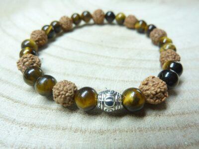 Bracelet Rudraksha-Oeil de tigre - Perles 8-6 mm