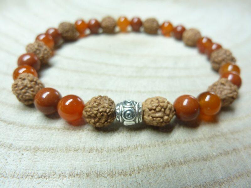 Bracelet Rudraksha-Cornaline-Jaspe rouge - Perles 8-6 mm