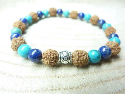 Bracelet Rudraksha-Lapis lazuli-Turquoise - Perles 8-6 mm